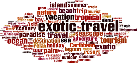 Exotic travel word cloud concept. Collage made of words about exotic travel. Vector illustration