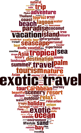 Exotic travel word cloud concept. Collage made of words about exotic travel. Vector illustration Stok Fotoğraf - 125405577
