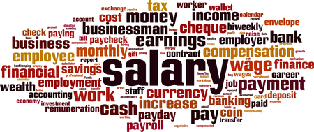 Salary cloud concept. Collage made of words about salary. Vector illustration Ilustração