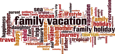 Family vacation word cloud concept. Collage made of words about family vacation. Vector illustration