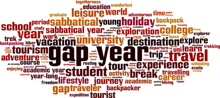 Gap year cloud concept. Collage made of words about gap year. Vector illustration