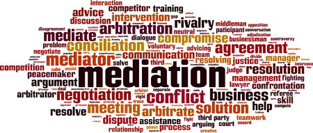Mediation word cloud concept. Collage made of words about mediation. Vector illustration