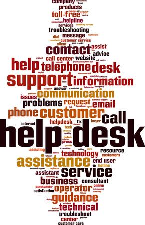 Concepto de nube de word de mesa de ayuda. Ilustración vectorial Ilustración de vector