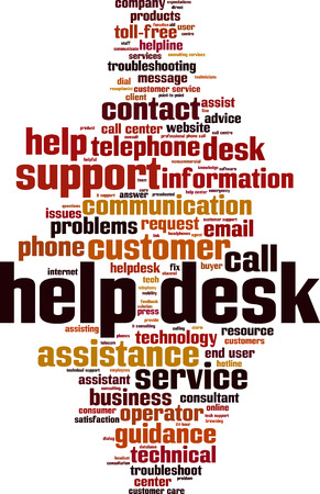 Help desk word cloud concept. Vector illustration