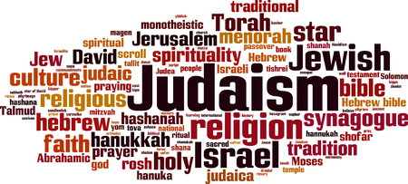 Judaism word cloud concept. Vector illustration