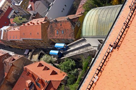 ZAGREB, CROATIA - MARCH 21, 2014: Zagreb Funicular, connecting the Ilica street with Strossmayer promenade, the funicular was built in 1890