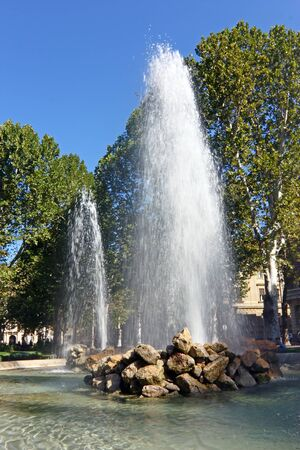 ZAGREB, CROATIA - SEPTEMBER 9, 2012: View of fountain in central Zagreb park Zrinjevac