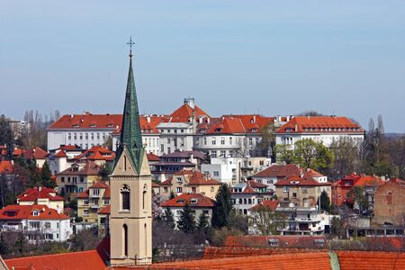 ZAGREB, CROATIA - MARCH 21, 2014: View over the roofs to the buildings located on Salata hill, part of KBC Zagreb, the largest hospital in Croatia