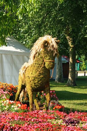 ZAGREB, CROATIA - MAY 29, 2018: A straw horse, garden sculpture, Floraart 53. International Garden Exhibition, Zagreb, Croatia