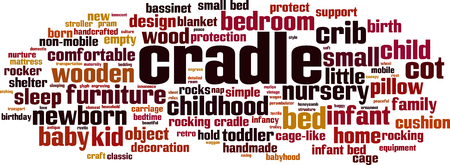 Cradle word cloud concept. Collage made of words about cradle. Vector illustration Vectores