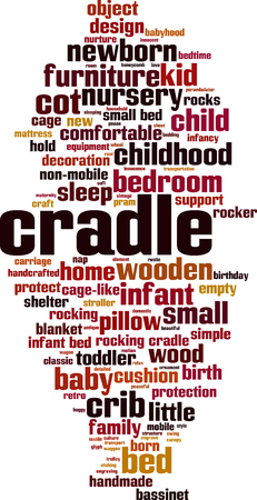 Cradle word cloud concept. Collage made of words about cradle. Vector illustration Vettoriali