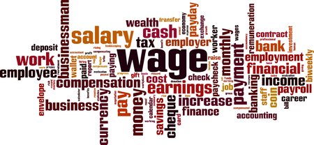 Wage cloud concept. Collage made of words about wage. Vector illustration Standard-Bild - 123436669