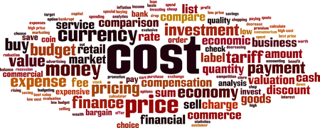 Cost word cloud concept. Collage made of words about cost. Vector illustration