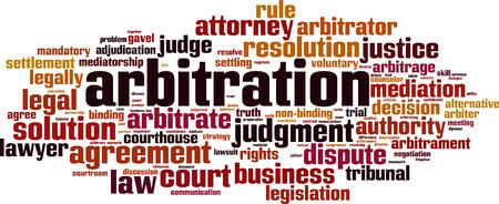 Notion de nuage de mots d'arbitrage. Collage fait de mots sur l'arbitrage. Illustration vectorielle Vecteurs