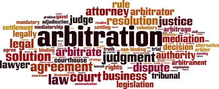Arbitration word cloud concept. Collage made of words about arbitration. Vector illustration