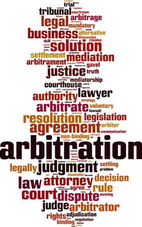 Arbitrato parola concetto cloud. Collage fatto di parole sull'arbitrato. Illustrazione vettoriale