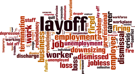 Layoff word cloud concept. Collage made of words about layoff. Vector illustration Vektorgrafik