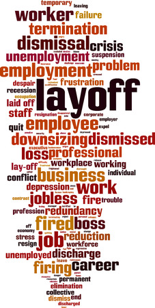 Layoff word cloud concept. Collage made of words about layoff. Vector illustration Illustration