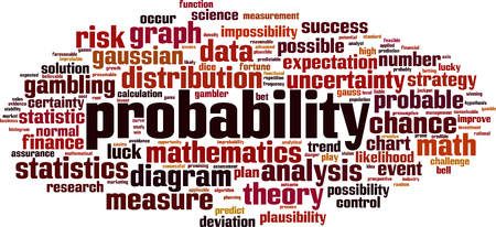 Probability word cloud concept. Collage made of words about probability. Vector illustration Reklamní fotografie - 125405941