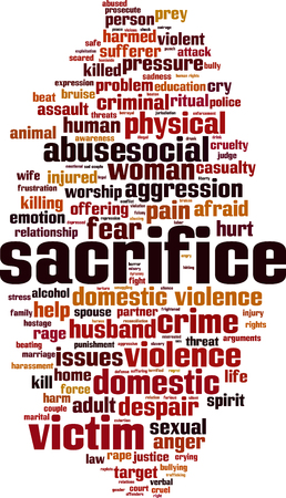 Sacrifice word cloud concept. Collage made of words about sacrifice. Vector illustration