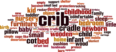 Crib word cloud concept. Collage made of words about crib. Vector illustration Vettoriali