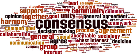Consensus word cloud concept. Collage made of words about consensus. Vector illustration Foto de archivo - 125406304
