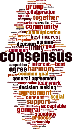 Consensus word cloud concept. Collage made of words about consensus. Vector illustration