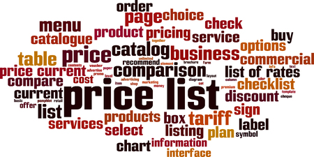 Price list word cloud concept. Collage made of words about consensus. Vector illustration Foto de archivo - 125406306