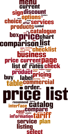 Price list word cloud concept. Collage made of words about consensus. Vector illustration Foto de archivo - 125406307