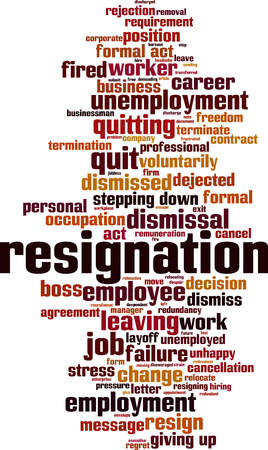 Resignation word cloud concept. Collage made of words about resignation. Vector illustration