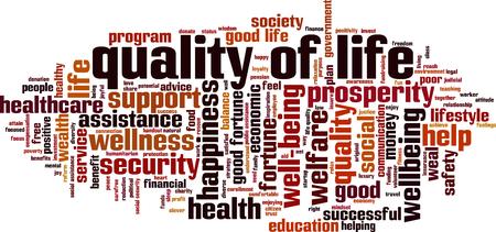 Concept de nuage de qualité de vie. Collage fait de mots sur la qualité de vie. Illustration vectorielle