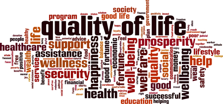 Quality of life cloud concept. Collage made of words about quality of life. Vector illustration Çizim