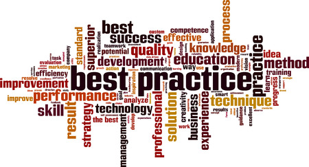 Best practice word cloud concept. Collage made of words about best practice. Vector illustration 일러스트