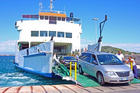 PREKO, CROATIA - JUNE 26, 2011: A large ferry in the port of Preko on the island of Ugljan, Croatia