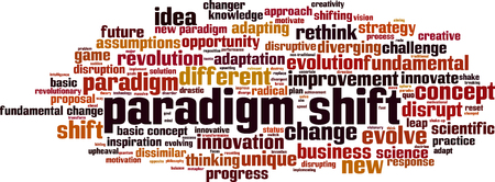 Paradigm shift word cloud concept. Collage made of words about paradigm shift. Vector illustration Illustration