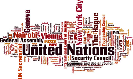 United Nations word cloud concept. Collage made of words about United Nations. Vector illustration
