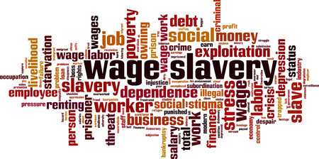 Wage slavery word cloud concept. Collage made of words about wage slavery. Vector illustration