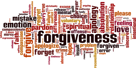 Forgiveness word cloud concept. Collage made of words about forgiveness. Vector illustration Иллюстрация