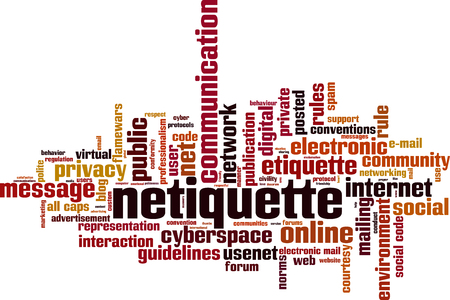 Netiquette word cloud concept. Collage made of words about netiquette. Vector illustration