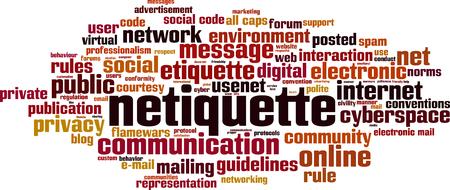 Concepto de nube de word de netiqueta. Collage de palabras sobre netiqueta. Ilustración vectorial