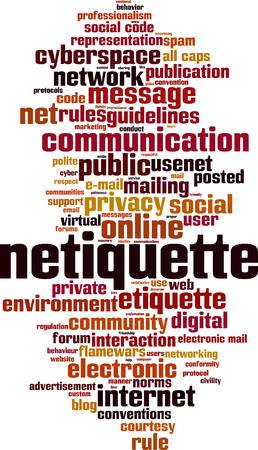 Netiquette-Wort-Cloud-Konzept. Collage aus Wörtern über Netiquette. Vektor-Illustration Vektorgrafik