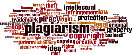 Plagiarism word cloud concept. Collage made of words about plagiarism. Vector illustration  イラスト・ベクター素材