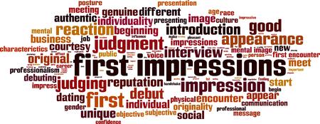Eerste indrukken woord wolk concept. Collage gemaakt van woorden over eerste indrukken. vector illustratie