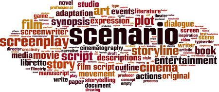 Scenario word cloud concept. Collage made of words about scenario. Vector illustration