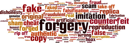 Forgery word cloud concept. Collage made of words about forgery. Vector illustration Иллюстрация