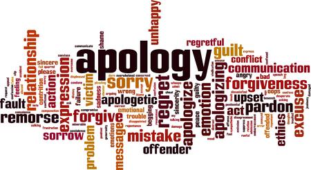 Scuse parola concetto cloud. Collage fatto di parole sulle scuse. Illustrazione vettoriale