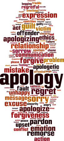 Apology word cloud concept. Collage made of words about apology. Vector illustration  Ilustração