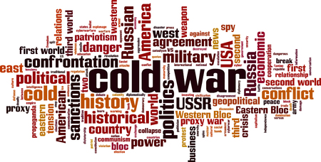 Cold war word cloud concept. Collage made of words about cold war. Vector illustration Ilustração