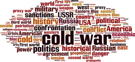 Cold war word cloud concept. Collage made of words about cold war. Vector illustration Ilustração