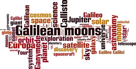 Concept de nuage de mot lunes galiléennes. Collage composé de mots sur les lunes galiléennes. Illustration vectorielle Vecteurs